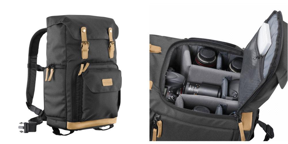 plecak fotograficzny w stylu retro